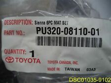6 Piece 2011 2012 Toyota Sienna All Weather Floor Mats OEM, Black PU320-08110-01