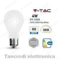 Lampadina led V-TAC 4W E27 bianco naturale 4000K VT-1939 A60 bianca filamento