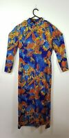 Colourful Bright Abstract Print Dress Neckline Long Sleeve Fits Size 12