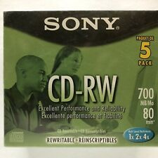 Sony CD-RW 700 Mb 80 Minutes Rewritable Cd 5 Pack