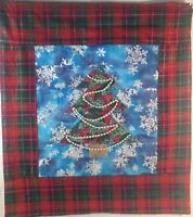 """Christmas Tree Wall Hanging Quilt 20""""H x 19""""W Red, Green & Blue"""