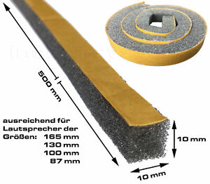 2 Dichtstreifen für Lautsprecher á 500x10x10mm Schaumstoffstreifen selbstklebend