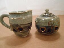 Vintage Asian Pottery Kiln Fired Double Walled Heart Pattern Cream and Sugar Set