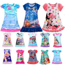 Cute Girls Kids Nightie Nightdress Disney Pyjamas Summer Sleepwear Dress 2-13Y