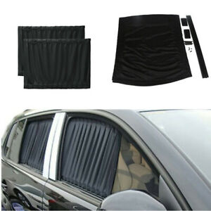 2x Foldable VIP Curtain Sun Visor Shade Shield UV Block Fit For Car Side Windows
