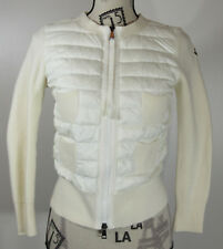 Moncler Maglia Combo Waffle-Knit Puffer Jacket, Cream, X-Small, Size 0