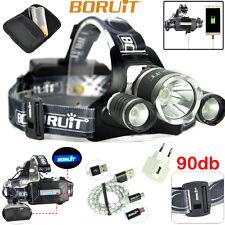BORUiT 60W B21 Zoomable Tactical Headlamp Headlight Flashlight XM-L2 3LED 9000LM