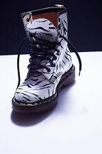 FAB. Vintage Dr Martens Botas 3 Reino Unido 36EU Zebra Negro Blanco 8 Ojo 1980s rara Mod