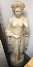 """Solid Marble Sculpture Statue Woman Lady With Flowers In Her Hair 52"""" Signature"""