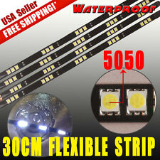 4x High Power 5050 White 30cm 15 LED Car Motor Flexible Strip Lights Waterproof