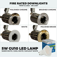 Fire Rated LED Twist and Lock Downlights Aluminium Recessed Ceiling Spotlights