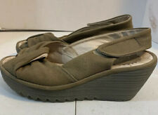 fly london 38 Taupe Wedge Ankle Strap Peep Toe Shoes Sandals