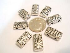 8 SILVER PLATED METAL ALLOY TIBET BALI HIGH END 2 HOLE SLIDER SPACER BEADS