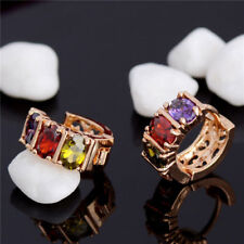 Pretty 18K Yellow Gold Plated 3 Multi-Color Oval Gem 16mm Huggie Hoop Earrings