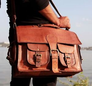 Classic Men Satchel Shoulder Messenger Laptop Bag Vintage Genuine Leather Canvas