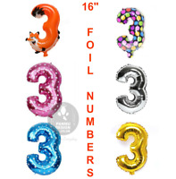 """16"""" 3rd Birthday Party Number Foil Balloon Air Fill Pink Blue Gold Silver Animal"""