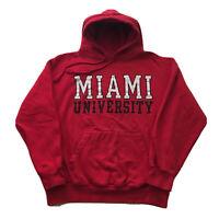 Vintage 90s Miami University Hoodie Mens Medium Ohio College Spell Out Pullover