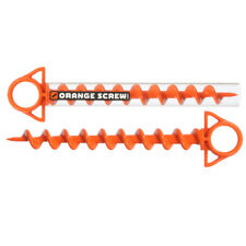 Orange Screw The Ultimate Ground Anchor Large 2 Pack Made in USA Tenting Travel