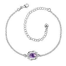 925 Sterling Silver Purple Cubic Zirconia CZ Fashion Statement Charm Anklet