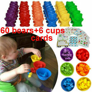 Counting Bears Cups Montessori Matching Game Educational Color Sorting Toys Set
