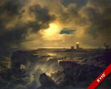 HELIGOLAND GERMANY NORTH SEA LIGHTHOUSE SEASCAPE PAINTING ART REAL CANVAS PRINT