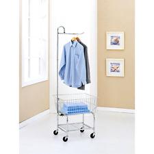 Commercial Grade Chrome Laundry Cart Hamper Organizer Clothes Bag Basket Rolling