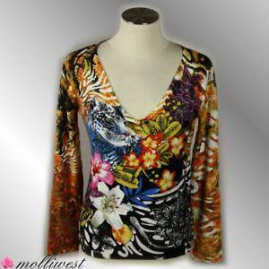 Damen Pullover Pulli Oberteil  Leopard Blumenmuster bunt von IMAGINI Gr.44,