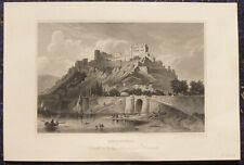 RHEINFELS St. Goar Rhein. Orig. Stahlstich 1850