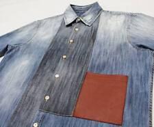 $705 Italy DSQUARED2 L/S Denim-Patchwork Leather-Pocket Shirt 42-IT XXS XX-Small