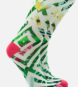 Women's Bamboo Printed Trouser Socks - Geo Floral Coral - L/XL