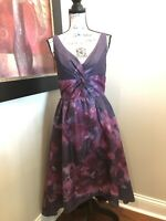 Lela Rose Neiman Marcus Target Dress Size 8 Purple Floral Watercolor Hi Lo NWT