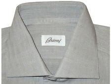 $695 NEW BRIONI GRAY & WHITE HERRINGBONE DIAMOND ACCENTS DRESS SHIRT EU 44 17.5
