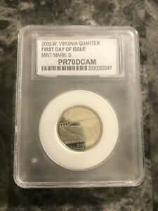 2005 S  West Virginia Quarter PCC PR70DCAM-first Day Of Issue
