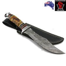 Handmade Bowie Knife, Damascus Blade, Carved Ram Horn Handle, Sheath