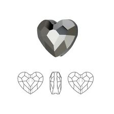 Swarovski Crystal Faceted Love Beads Heart 5741 Silver Night 2X 8mm Package of 2