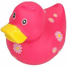 Pink Flowery Rubber Vinyl Squeaky Duck Dog Toy With Internal Squeak 8x10cm