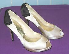 Ladies Monsoon Leon Ivory & Black Satin Peep Toe Smart Wedding Shoes Size 5 38