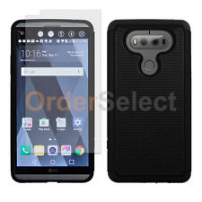 Hybrid Rugged Rubber Case+LCD Clear HD Screen Protector for Android LG V20 Black