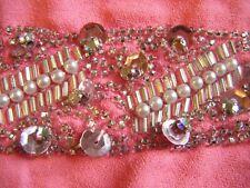 Handmade Antique Vintage Beadwork Sequin Pink Applique Piece - 1920's ?