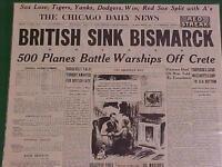 VINTAGE NEWSPAPER HEADLINE ~WORLD WAR 2 NAZI BATTLESHIP BISMARCK SUNK WWII 1941