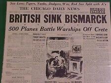 VINTAGE NEWSPAPER HEADLINE~WORLD WAR GERMAN NAZI BATTLESHIP BISMARCK SUNK WWII