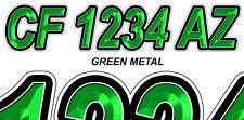 GREEN METAL Custom Boat Registration Numbers Decals Vinyl Lettering Stickers
