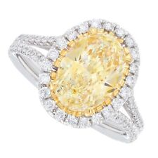 18kt Fancy Yellow 2.50ct Oval Cut Pavé Diamond Engagement Ring