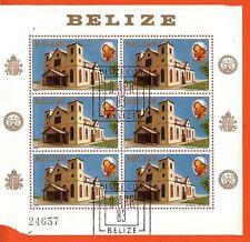 PR3  6 timbres N° 666 sur bloc oblit. La cathedrale de BELIZE. Cote 5,75 l'unité