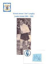 JIM LANGLEY LEEDS UNITED 1951-1953 RARE ORIGINAL HAND SIGNED CUTTING/CARD