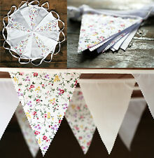 30FT (9m) JILPI 'PURE & SIMPLE'  FABRIC BUNTING, WHITE LILAC FLORAL VINTAGE CHIC