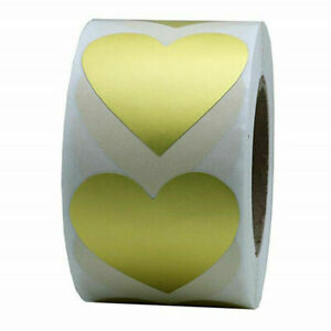 Heart Stickers GOLD Labels Seals Craft Wedding Favours Toppers Baby Shower
