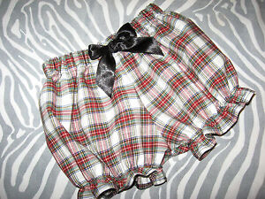Baby tartan Knickers Black white red check Frilly Bloomers Pantaloons holiday UK