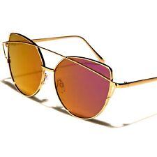 Designer Fashion Stylish Modern Womens Pink Mirrored Lens Cat Eye Sunglasses