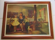 FINEST LOUISE ZINGARELLI OIL PAINTING ON CANVAS RARE LARGE FAMILY INTERIOR HOME